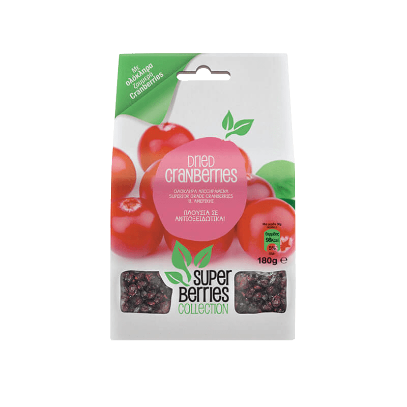 Super Berries Collection Juice Infused Cranberries 180gr (χωρίς προσθήκη ζάχαρης)